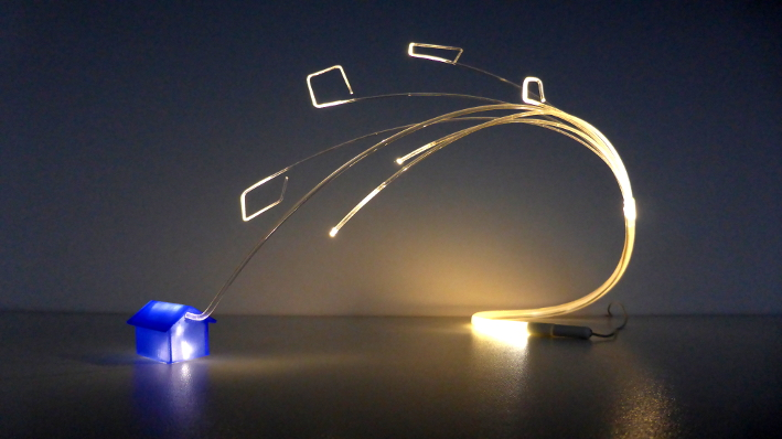 Lichtobject Modulair © Josée Kempe optische vezel glasvezel kunst optical fiber light art