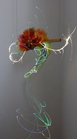 Lichtobject Woes © Josée Kempe optische vezel kunst fiber optics light object art